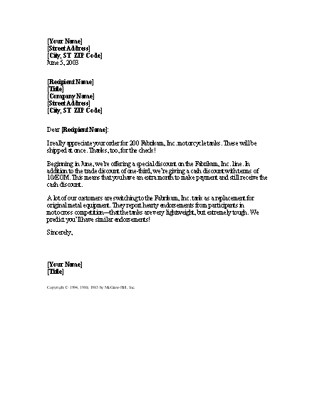 Confirmation Of Order With Notice Of Discount