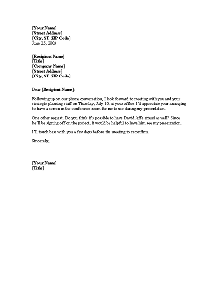 Meeting confirmation email sample.
