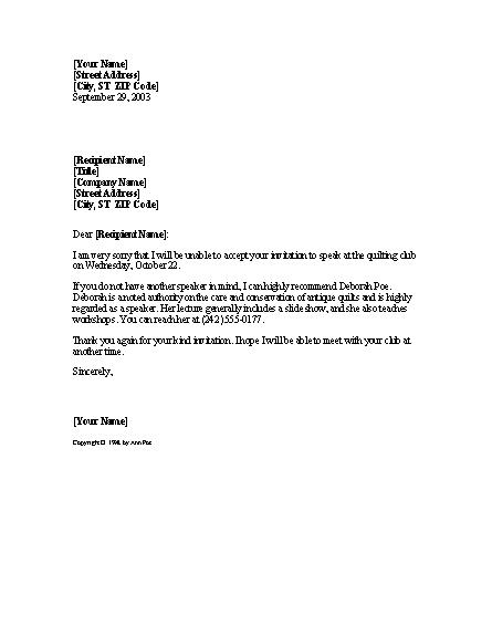Refusal Of Invitation To Speak