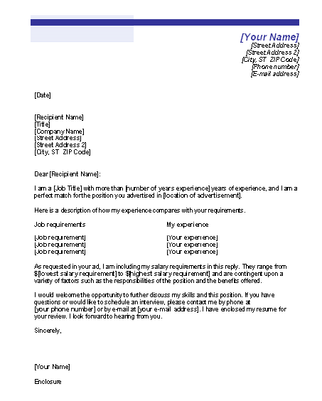 Cover letter example cover letter template with salary for Salary requirement on cover letter