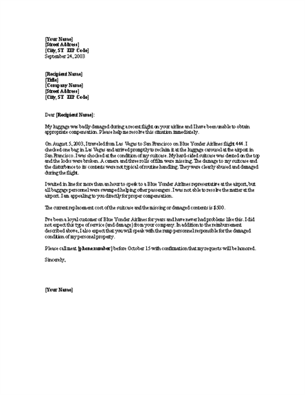 Complaint letter template complaint about damaged luggage word 2003 or newer letter samples altavistaventures Images