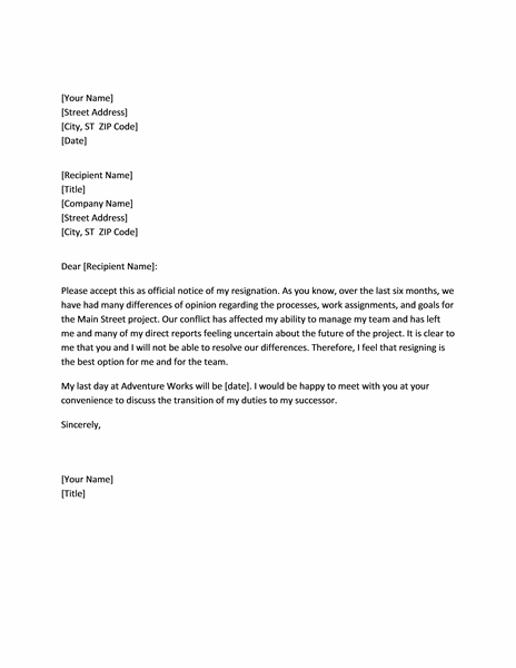 Resignation Letter Templates Word Due To Conflict With Boss