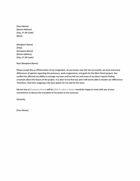 Resignation Letter Templates Samples Due To Conflict