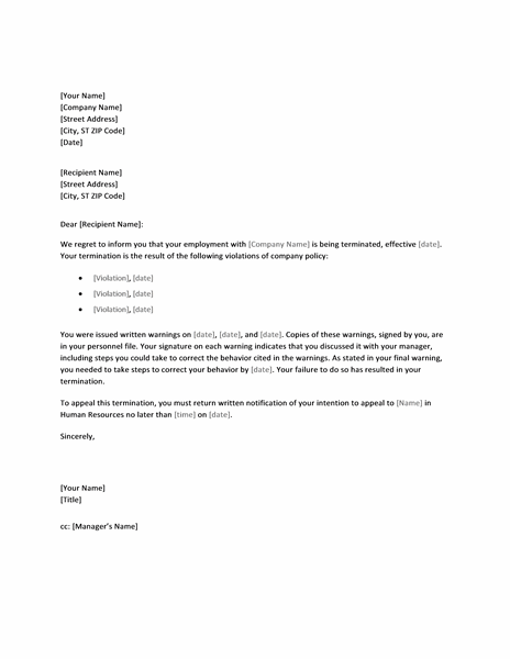 Termination Letter Templates Free Due To Policy Violation
