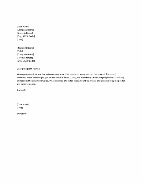 Letter Correcting Invoice That Undercharged