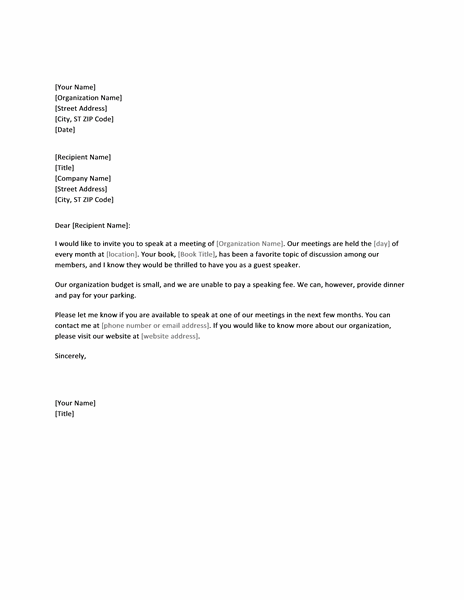 Letter Requesting Paid Speaker For Conference