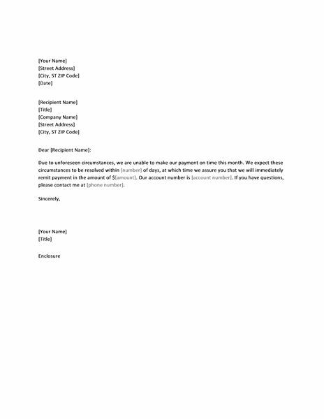Letter Notifying Creditor Of Late Payment