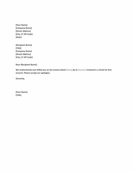 Letter Refunding Invoice Overcharge