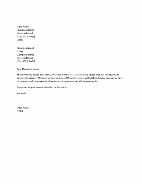 Letter Requesting Payment Prior To Order Delivery