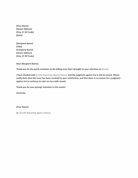 Letter Requesting Credit Card Company Send Correction To Credit Bureaus