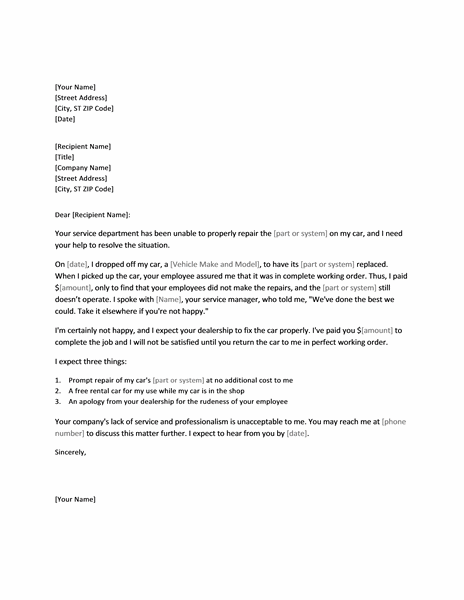 Letter Of Complaint Regarding Incomplete Vehicle Repair