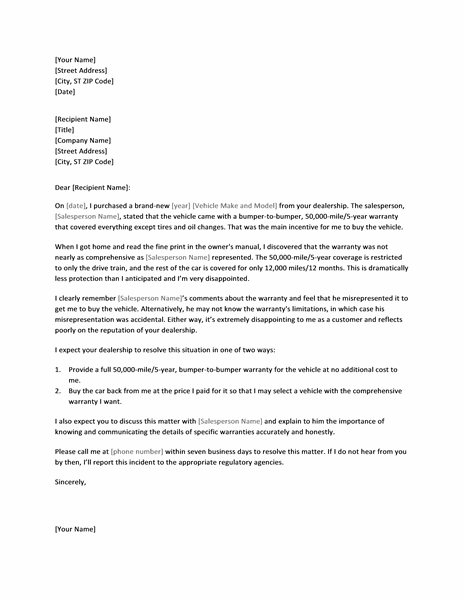 Letter Of Complaint About Misrepresented Vehicle Warranty