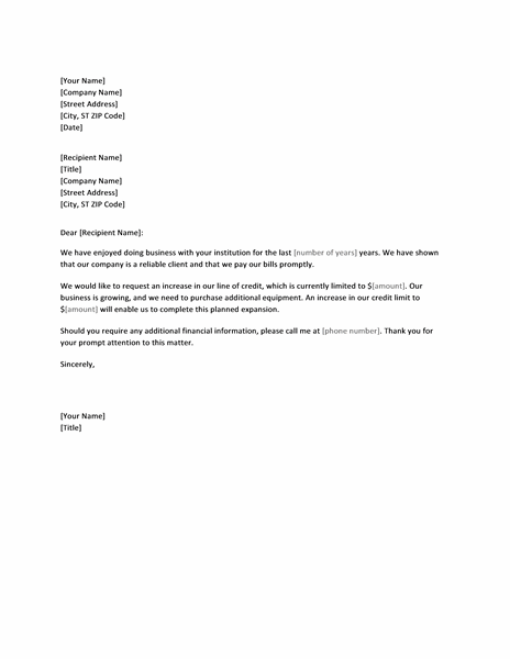 Letter Requesting Credit Limit Increase