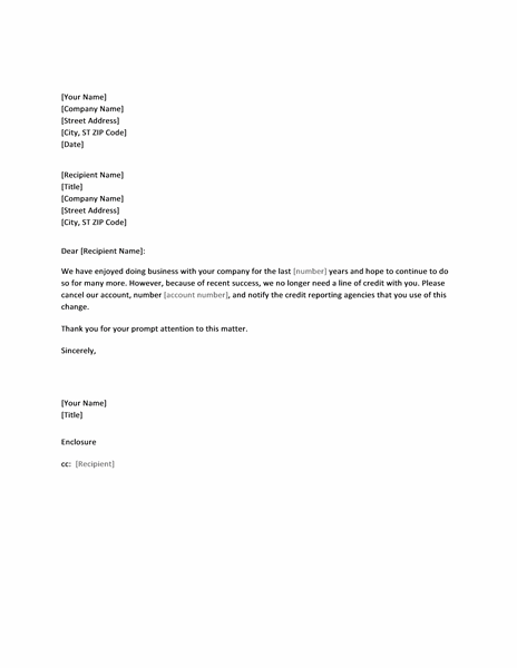 Letter Canceling Credit Account