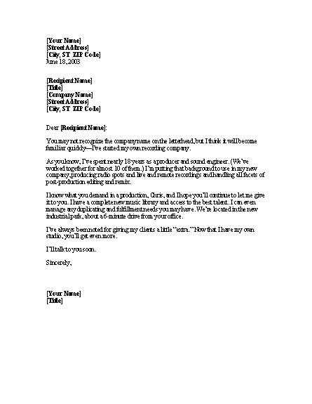 Announcement Of New Company