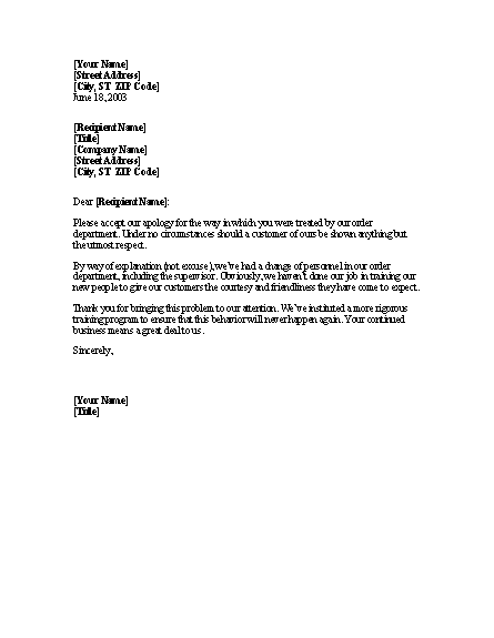 Apology For Discourteous Telephone Treatment - Letter Templates