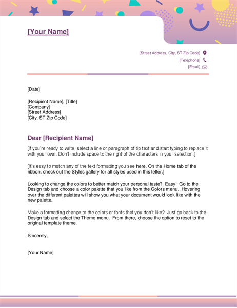 Colorful Modern Business Company Letterhead Sample