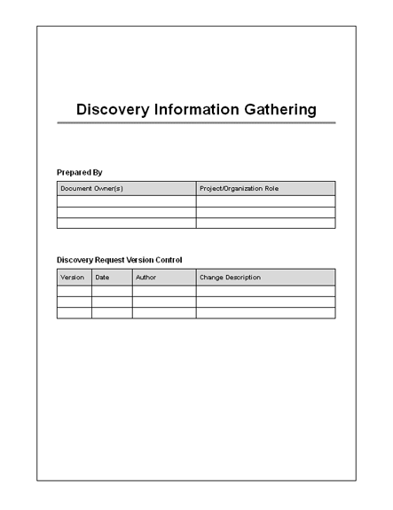 Discovery Information Form Key Interrogatories