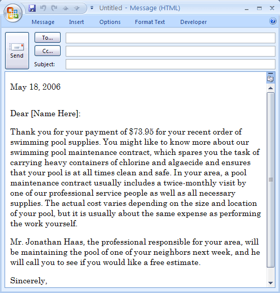 E-mail Message: Sales Letter For Additional Services