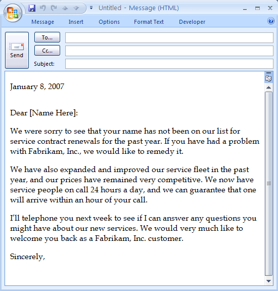 e-mail message  sales letter to past customer