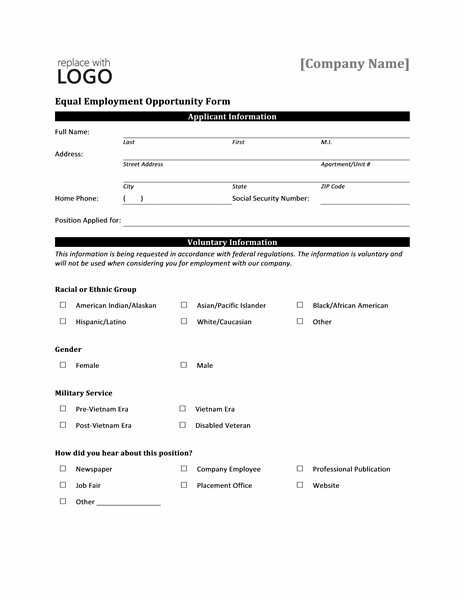 Eeoc Equal Employment Opportunity Form Application