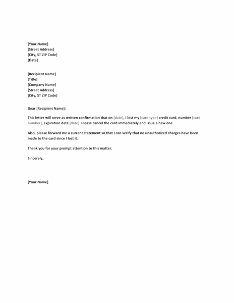 Letter Confirming Lost Credit Card