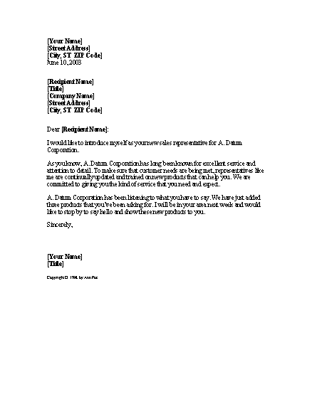 Letter From New Salesperson