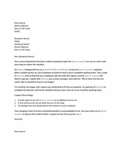 Complaint Against Car Dealer