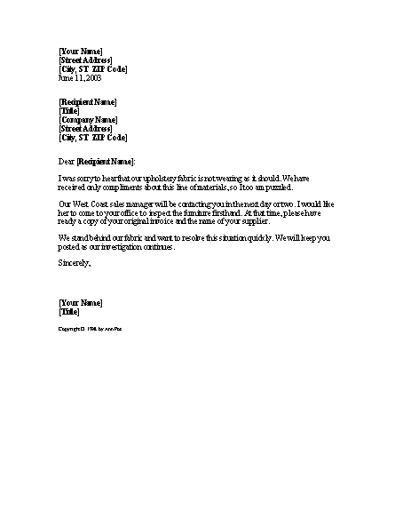 Notice Of Product Complaint Investigation