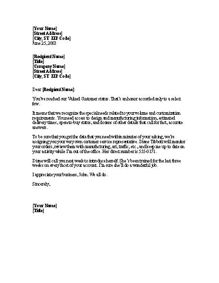 Notice Of Valued Customer Status