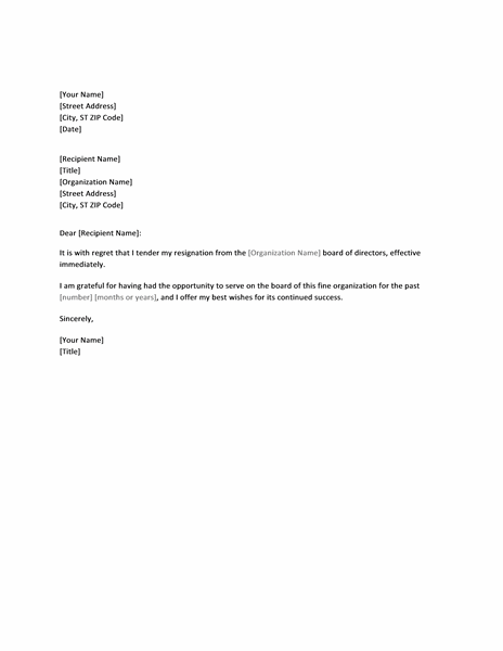 Board Resignation Letter Board Resignation Letter Sample – Board Resignation Letter