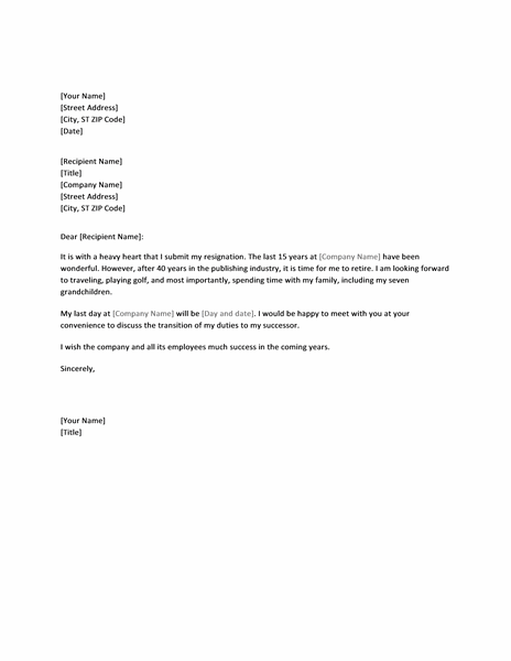 Resignation Letter Templates Word Due to Retirement - Letter Templates ...