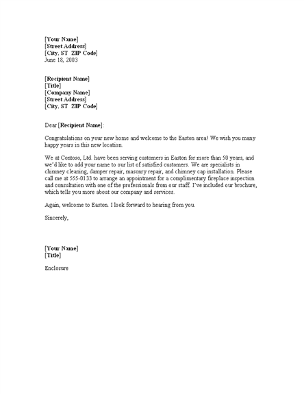 Sales Letter To New Resident