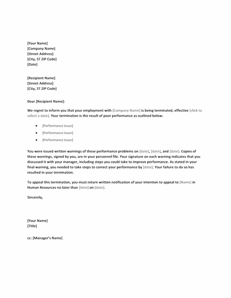 Termination Letter Template Word Due To Poor Performance