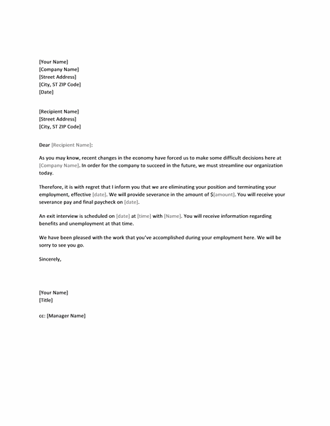 Termination Letter Templates Free